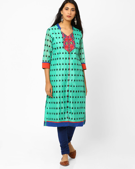 Ikat Print Kurta With Embroidery By AJIO ( Blue )