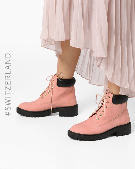 High-Top Boots With Padded Collar By TALLY WEiJL ( Pink )