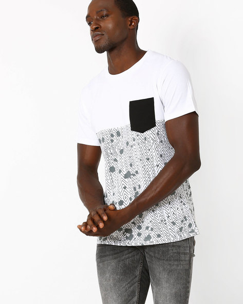 Panelled Slim T-shirt With Contrast Pocket By Blue Saint ( Multicolour )