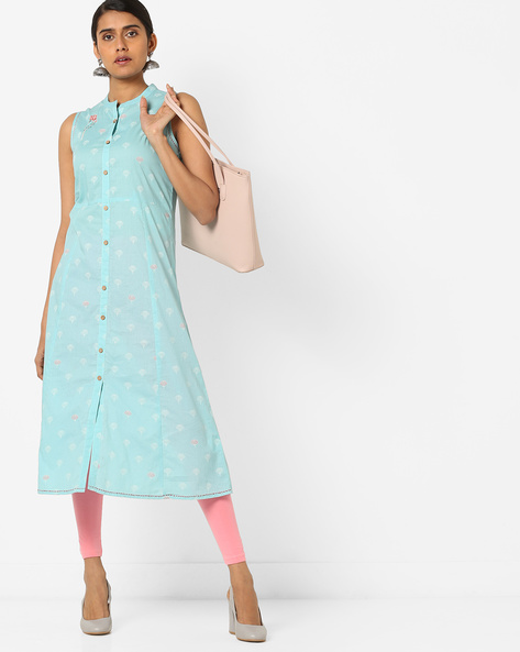 Floral Print A-line Kurta With Embroidery By AJIO ( Turquoise )