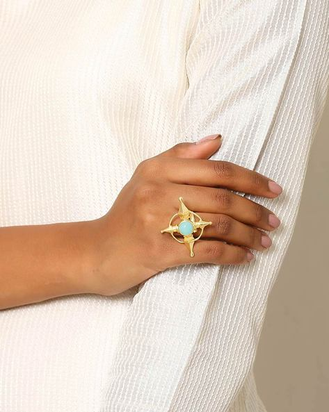 Gold-Plated Statement Ring By Indie Picks ( Blue ) - 460046734001