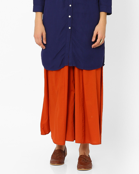 Low-Rise Palazzo Pants With Drawstring Fastening By Juniper ( Brown )