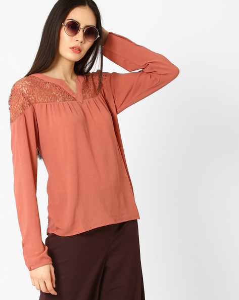 Woven Top With Lace Yoke By Only ( Brown )