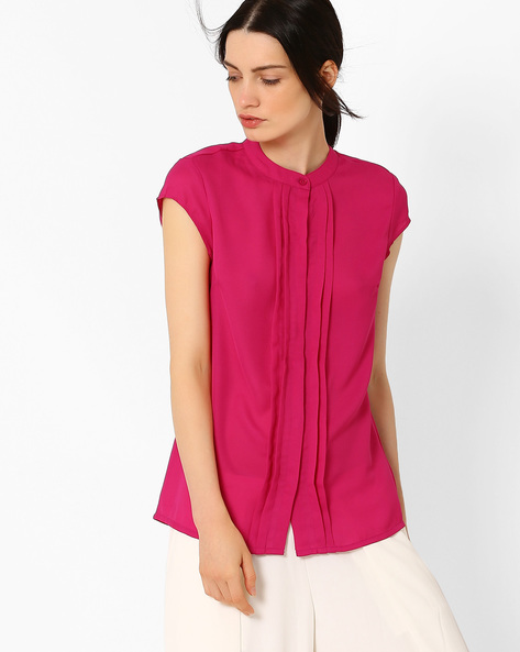 Pleat-Front Top With Cap Sleeves By AJIO ( Fuchsia )