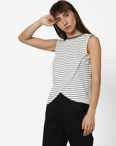 Striped Top With Overlap Front By Teamspirit ( Offwhite )