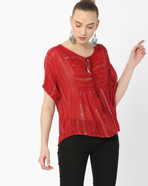 Shimmer Striped Boxy Top By Rena Love ( Maroon )