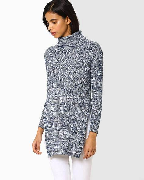 High-Neck Knitted Sweater By AJIO ( Blue )