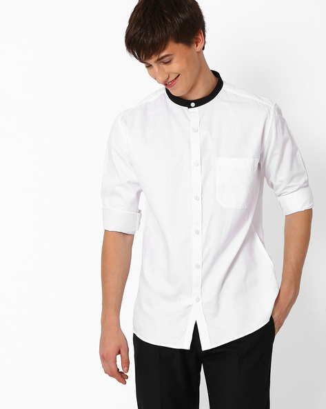 Slim Fit Shirt With Patch Pocket By British Club ( White )