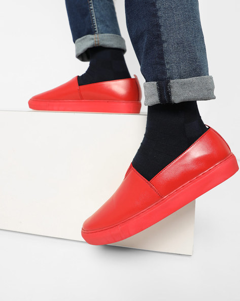 Panelled Slip-On Shoes By Funk ( Red )