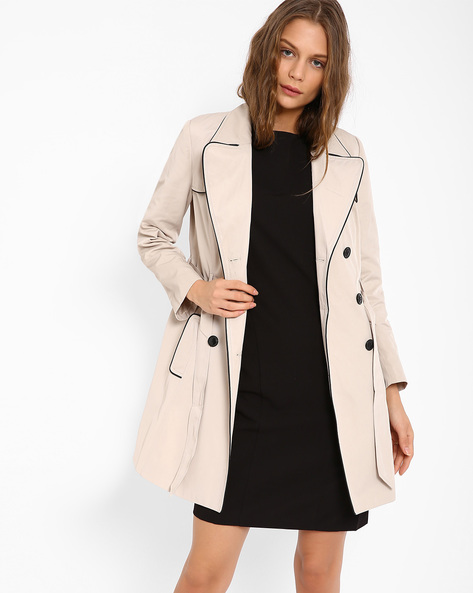 Double-Breasted Trench Coat By AJIO ( Beige )