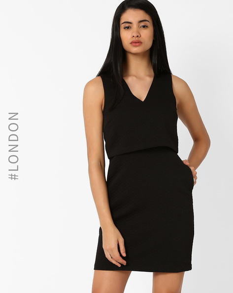 Popover Dress With Pockets By Marks & Spencer ( Black )