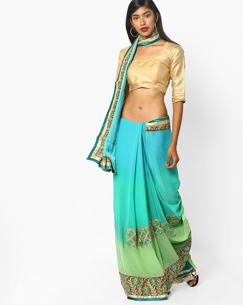 Saree With Embroidery By Majestic Silk ( Lightblue )