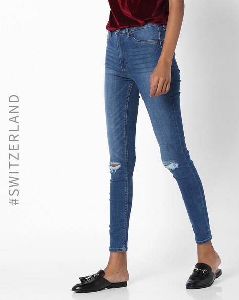 Skinny Fit Distressed Jeans By TALLY WEiJL ( Darkblue )