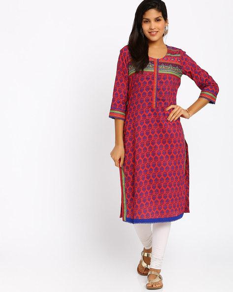 Printed Cotton Kurta By Rangriti ( Red )