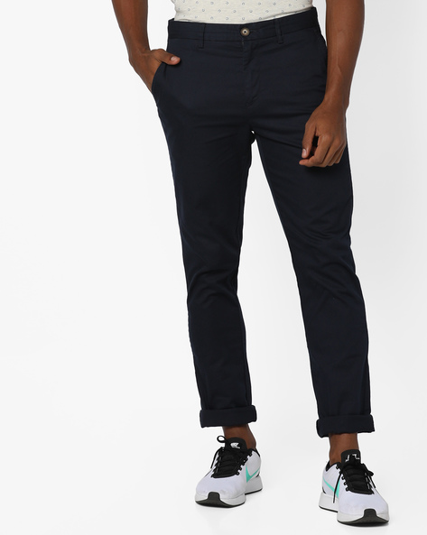 Mid-Rise Flat Front Trousers By US POLO ( Black )