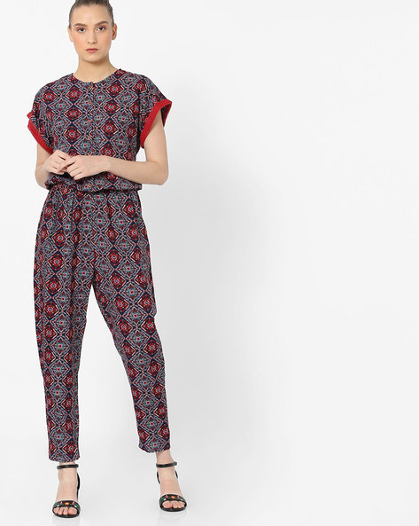 Printed Jumpsuit With Contrast Sleeve Hems By Rena Love ( Multi )