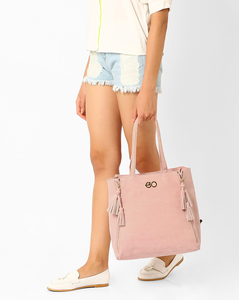 Suede Leather Tote Bag By E2O ( Pink )