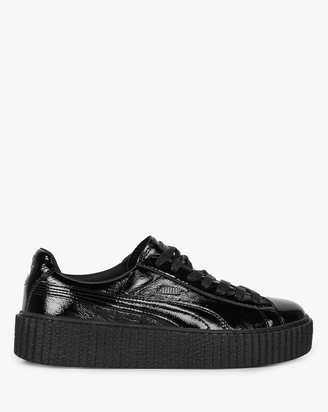Textured Casual Shoes With Lace-Ups By Puma ( Black )