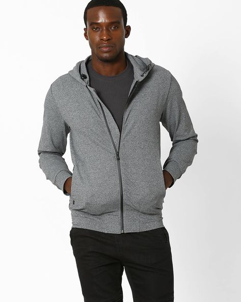 Regular Fit Hooded Sweatshirt With Zipper By Celio ( Grey )
