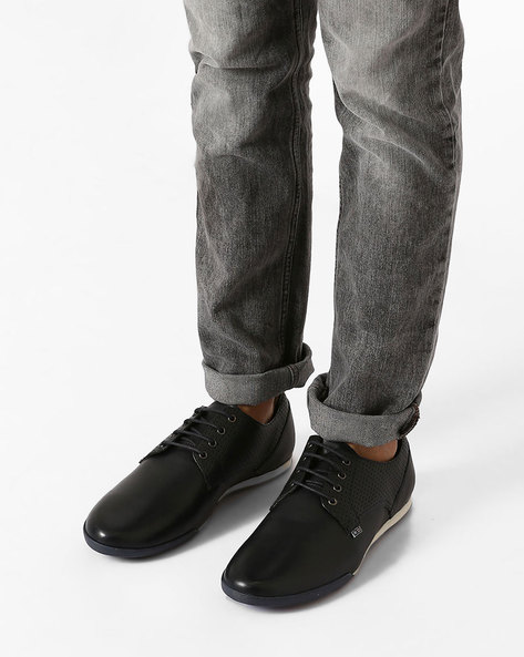 Leather Sneakers With Perforations By ARROW ( Navy )