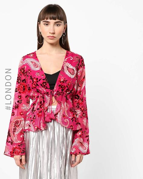 Printed Top With Front Tie-Up By Glamorous ( Pink )
