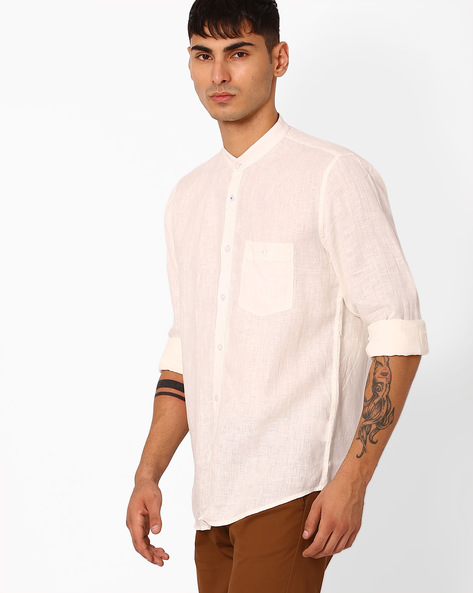 Slim Fit Shirt With Curved Hemline By CRIMSOUNE CLUB ( Assorted )