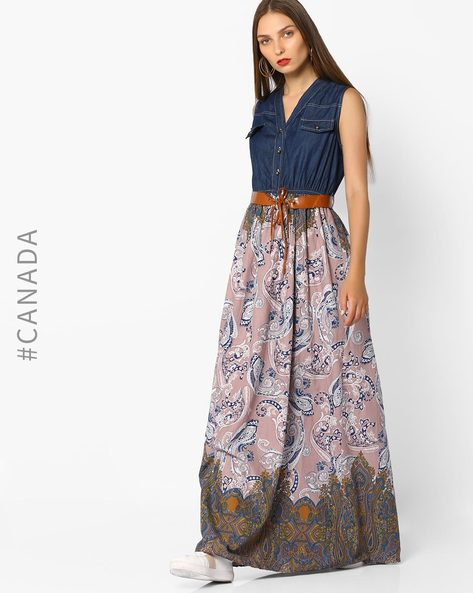 Sleeveless Maxi Dress With Belt By Point Zero ( Darkblue )
