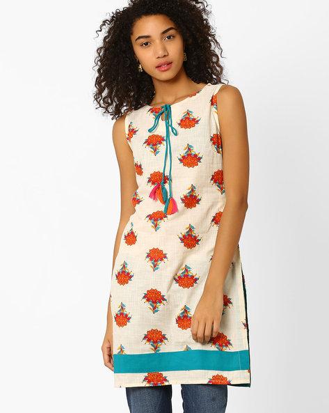 Floral Print Kurta With Tie-Up Neckline By AJIO ( Offwhite )