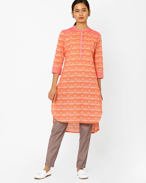 Geometric Print High-Low Kurta By AJIO ( Coral )