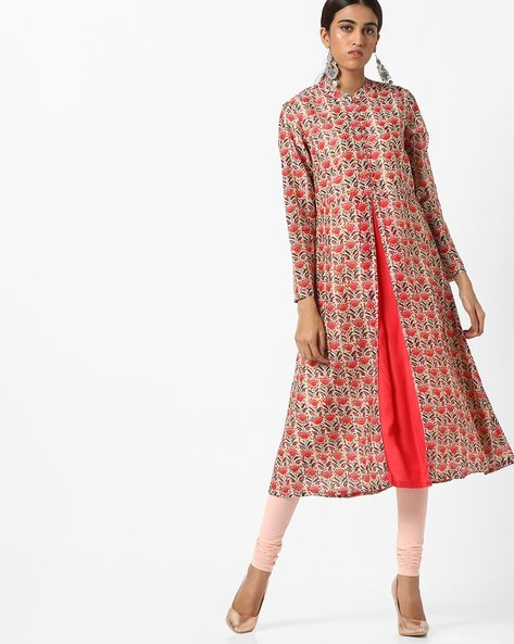 All-Over Floral Print Mandarin Kurta By AJIO ( Red )