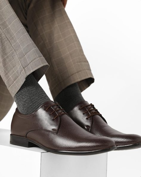Ambrose II Textured Derby Shoes By Spunk ( Brown )