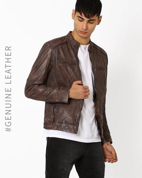 Leather Slim Fit Biker Jacket By TEAKWOOD LEATHERS ( Brown )