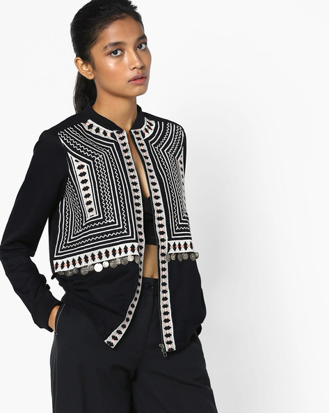 Jacket With Embroidery By AJIO ( Black )