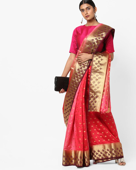 Polka-Dot Banarasi Silk Saree With Zari Work By Viva N Diva ( Red )