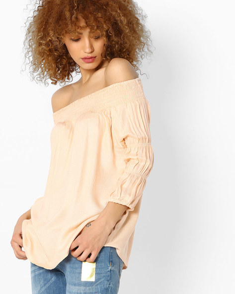 Off-Shoulder Top With Smocking By Femella ( Peach )