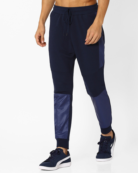 Panelled Knit Joggers With Zip Pocket By AJIO ( Navy )