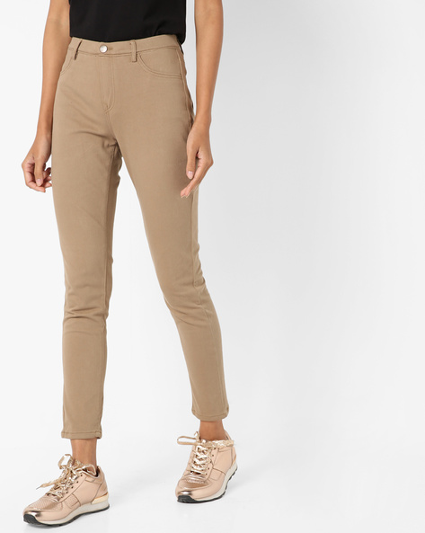 Ankle-Length Treggings With Side Pockets By Project Eve WW Casual ( Beige )