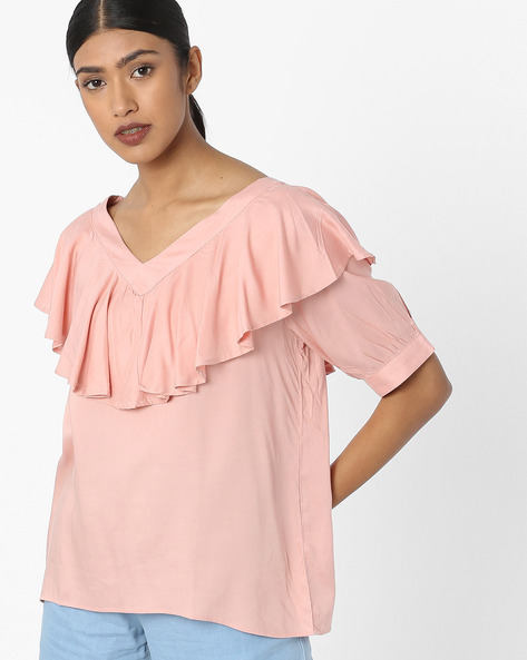V-neck Top With Ruffled Panel By Tokyo Talkies ( Peach )
