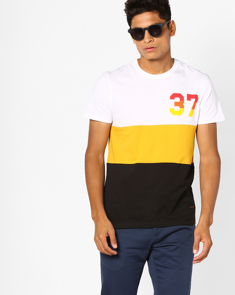 Cut & Sew Colourblock T-shirt By AJIO ( Yellow )