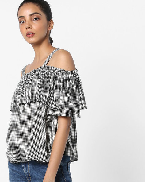 Gingham Checked Strappy Cold-Shoulder Top By Only ( Offwhite )