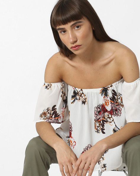 Floral Print Off-Shoulder Top By Ginger By Lifestyle ( Offwhite )