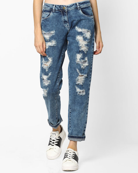 Distressed Skinny Jeans By Ginger By Lifestyle ( Lightblue ) - 460065034007