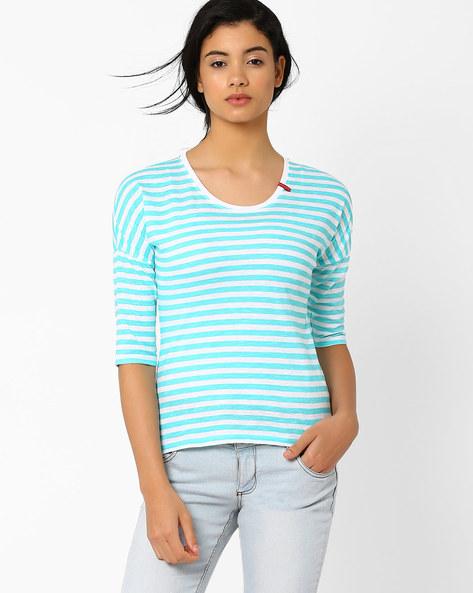 Striped High-Low T-shirt By TEAM SPIRIT ( Ltaqua )