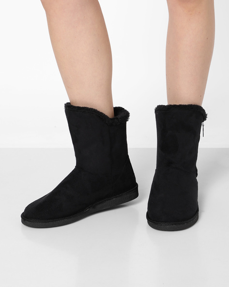 High-Top Uggs With Zipper By Carlton London ( Black )