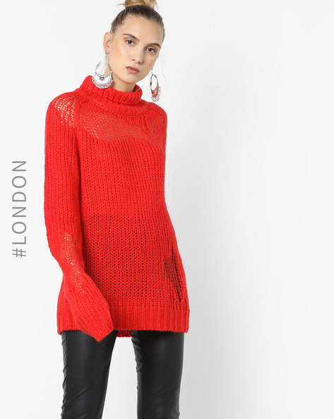 High-Neck Sweater With Ribbed Hems By Glamorous ( Orange )