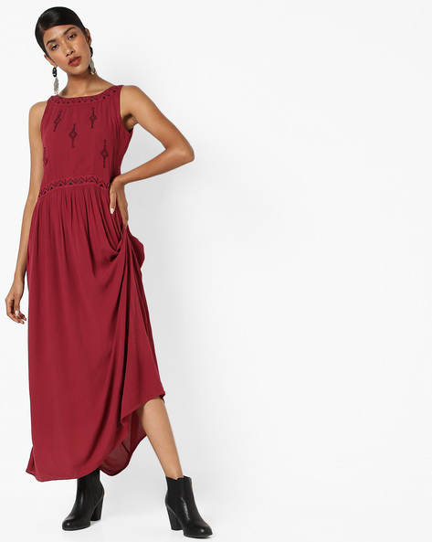 Embroidered A-line Maxi Dress By AJIO ( Purple )