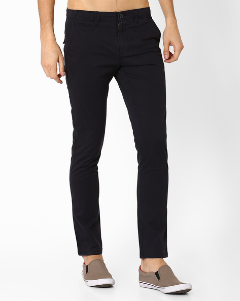 Mid-Rise Slim Tapered Fit Chinos By AJIO ( Navy )