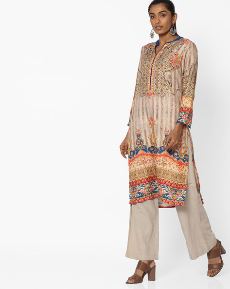 Printed Straight Kurta With Side Pocket By Shree ( Beige )