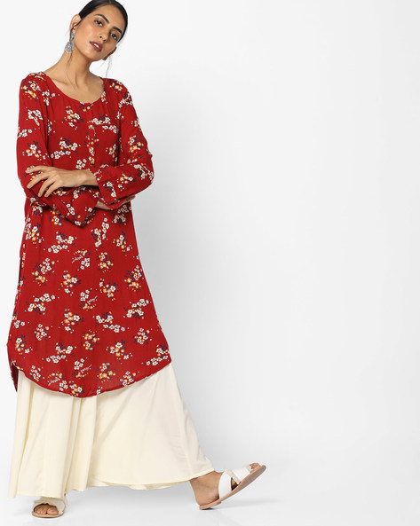 Straight Kurta With Curved Hemline By Melange By Lifestyle ( Red )