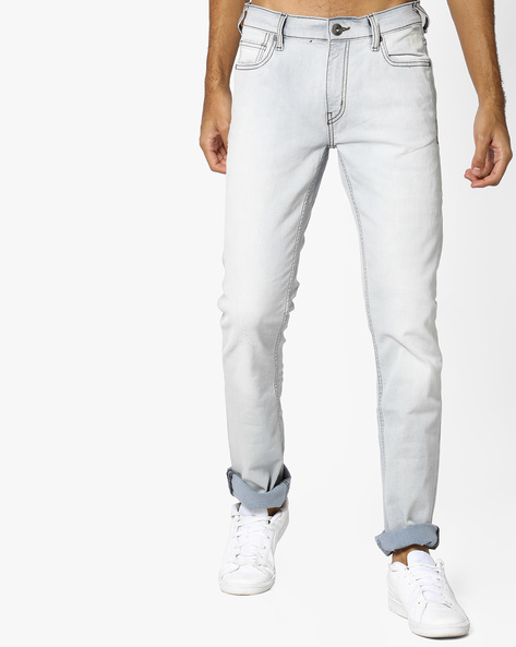Heavily Washed Slim Fit Jeans By Pepe Jeans ( Blue )